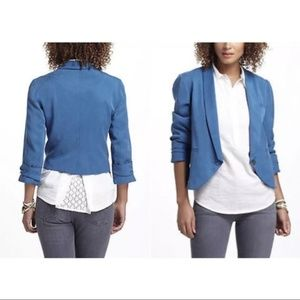 Anthropologie Cartonnier Miette Blue Tencel Jacket